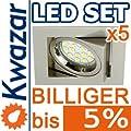 5er Set K-23 Einbaustrahler 15p Smd Led Warmweiss Inkl Gu10 230v Fassung - Nickel Matt Innox von Kwazar