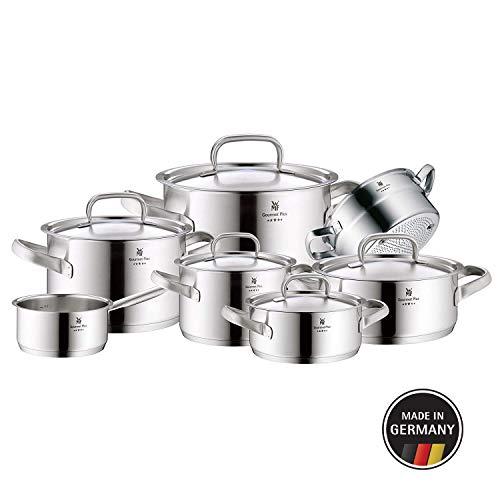 WMF Gourmet Plus Topfset 7-teilig mit Metalldeckel, Kochtopf, Stielkasserolle, Dämpfereinsatz, Cromargan Edelstahl mattiert, Innenskalierung, Dampföffnung, induktionsgeeignet