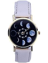 Culater Las mujeres Eclipse Lunar del cuero del patrón de cuarzo analógico reloj de pulsera (