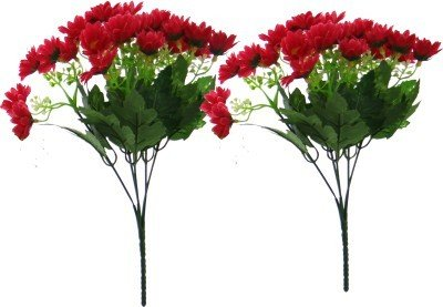 Fourwalls Artificial Daisy Flower Bouquet (Set of 2, 50 Flowers, Tall, Red)