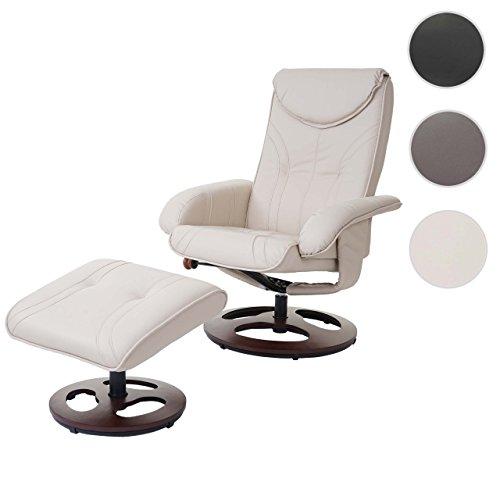 Relaxsessel HWC-C46, Fernsehsessel Sessel mit Hocker, Kunstleder ~ creme