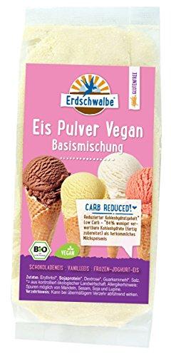 Erdschwalbe Bio Eispulver Vegan - Bio Eisbasis - low carb (kohlenhydratreduziert - 84% weniger verwertbare Kohlenhydrate als herkömmliches Milchspeiseeis) - 140g