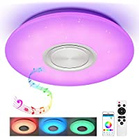 Lámpara LED de techo con mando a distancia, control de aplicación y altavoz Bluetooth, MP3 24 W, cambio de color, estrellas, regulable, blanco cálido y frío, 2800 – 6500 K, luz ambiental RGB