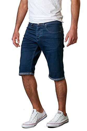 Gelverie Herren Shorts Jeans Hochwertige Bermuda Kurze Hose für Männer, Dark Blue Denim, W44