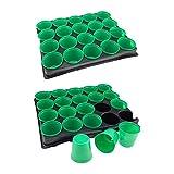 2piastre di coltura con un totale di 40singoli Vasi–31x 26x 6cm (L x P x A), Vaso di dimensioni 5,5x 5,5cm (ØxH), Vasi con fori Sgocciolamento, Plastica, Nero/Verde