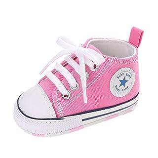 Auxma Babyschuhe Baby Schuhe Sneakers aus Leinwand mit Weichen und Rutschfesten Sohle Für 3-6 6-12 12-18 Monat (3-6 M, Rosa)