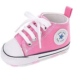 Auxma Zapatos Para Bebé La Zapatilla de Deporte Antideslizante del Zapato de Lona de La Zapatilla de Deporte Para 3-6 6-12 12-18 M (3-6 M, Rosado)