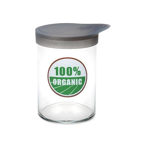 Large 100% Organic Wide Mouth Jar with Silicone Lid by 420 Science - 5.75 inches - Holds 2oz by 420 Science