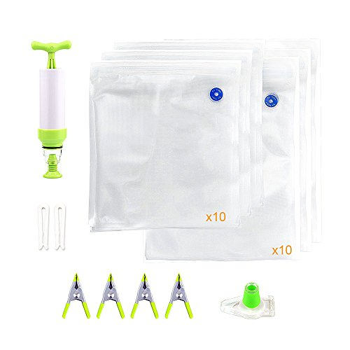 Locisne Sous Vide Bags Kit für Anova Joule 20pcs 2 Größen BPA Free Vakuum Sous Vide Sealed Taschen + 1 Handpumpe + 2 Beutel Sealing Clips + 4 Sous Vide Clips + 1 Weinflasche Sealer - Vakuum-objektiv