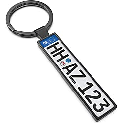 Kennzeichen Schlüsselanhänger - Personalisiertes Mini Kfz-Kennzeichen als Schlüssel-Anhänger, Ideales Geschenk für Männer und leidenschaftliche Autofans (Anthrazit)