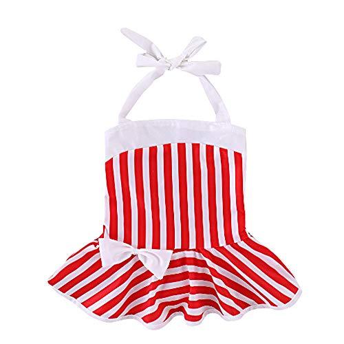 LITIANTIAN-Swimsuit Badeanzug Mädchen Kinder Badeanzug, Baby Mädchen Schwimmen Kostüm Fliege Badeanzug Nette rot und weiß gestreiften Badeanzug Einteilige Sling Bademode