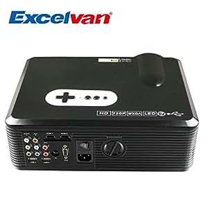 Excelvan 3000 lumens LED Vidéoprojecteur HD Projecteur Vidéo Home Cinéma- Résolution 1280x800 2000:1 1080P - HDMI VGA/ USB/ AV /Digital TV -Noir