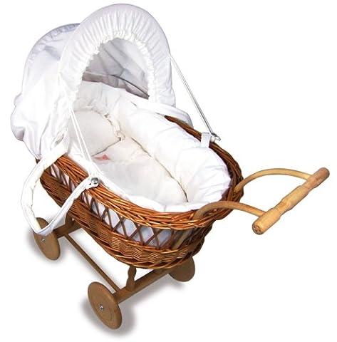 Petitcollin Doll Wicker Pram Doll Moses Basket (Large)