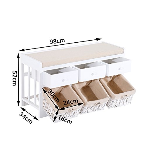 HOMCOM Wooden Unit Storage Bench Wood Seat Seater Woven Wicker Baskets Drawers Hallway Porch White w/ Cushion & Removable Linings (3 drawers & 3 baskets)