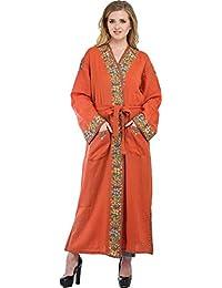 Exotic India Dusty-Orange Kashmiri Robe With Ari Floral-Embroidery By H - Orange