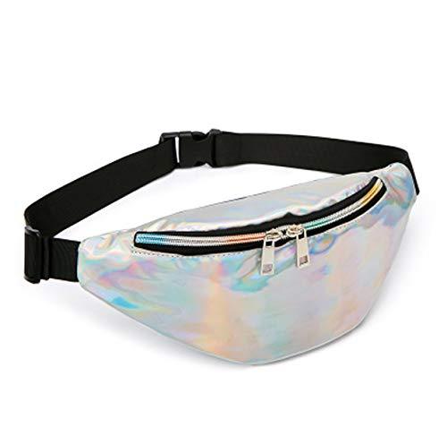 Hüfttasche Außentaschen weibliche Tasche Laser mobile Sport Brusttasche alte Blume Taschen Schulter Schlinge kleine Tasche (Silver, 30 * 8 * 13 cm) Laser Mobile