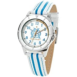Trendy Junior OM8007 Olympique de Marseille Boys'Watch Analogue Quartz Tone Leather Strap Silver Dial