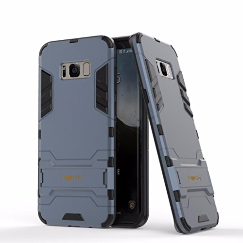 Heartly Graphic Designed Kick Stand Hard Dual Rugged Armor Hybrid Bumper Back Case Cover For Samsung Galaxy S8 – Rugged Black