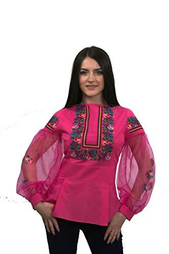 Estilo Lino Bordada De Natural Rosa Blusa Étnico Ukrainian Fashion Xs Tradicional XZwTkiOPul