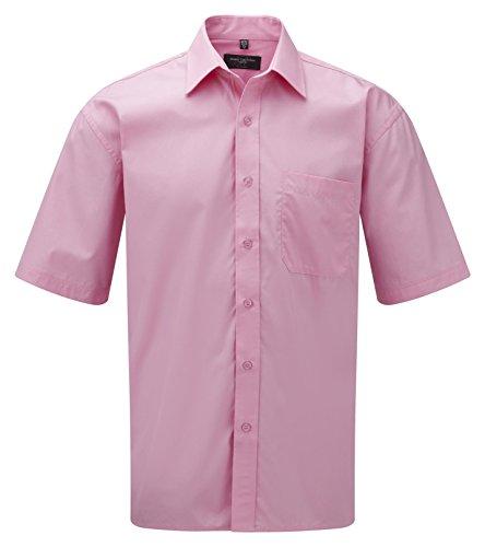 Russell Collection Men's Easycare Poplin Short Sleeve Shirt Rose vif