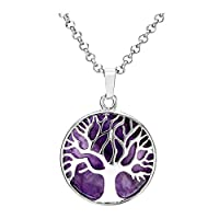 Jovivi Silver Tree of Life Wire Wrapped Pendant Amethyst Crystal Healing Reiki Chakra Gemstone Necklace