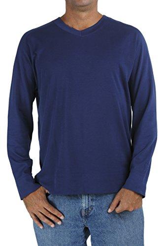 B.e Pima Baumwolle Empfindlicher Haut Langarm-Shirt mit V-Ausschnitt, Männer Ethisch Slowfashion MT1 Blue Jeans