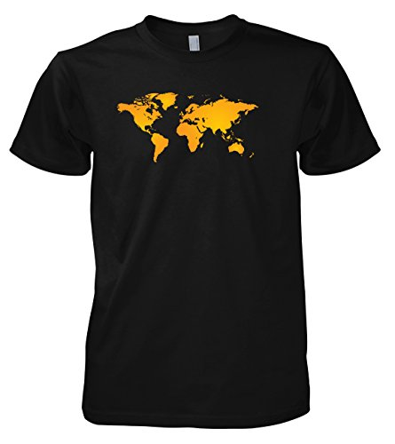 Geek World Map 702295 Herren T-Shirt Schwarz