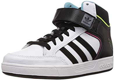 adidas Originals Boy's Varial Mid J White, Black and Blue Leather Sneakers - 3 UK