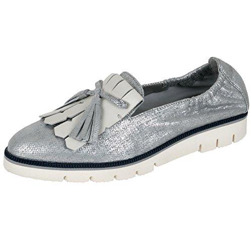 Maripe Slipper in silber/weiß mp-22614-151735 silber/grau mit weiß und blauem Sohlenstreifen
