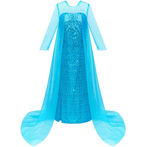 Prinzessin Jugendliche Kostüm Disney Für - Sunboree Mädchen Kleid Prinzessin Kleid ELSA Kostüme Geburtstagsfeier Gr. 128 134