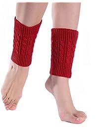 Fulltime® Hiver Laine chaud Dentelle de femmes en tricot Jambières Bottes Chaussettes (B) (Noir)