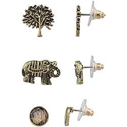 LUX accesorios Boho Burnish Oro Árbol de la vida elefante Multi Pendientes Set (3pcs)