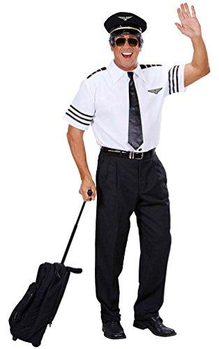 iloten Kostüm Herren Flug-Kapitän Herrenkostüm schwarz-weiß inkl. Piloten-Mütze Größe 54 (Flugzeug Piloten Kostüm Kinder)
