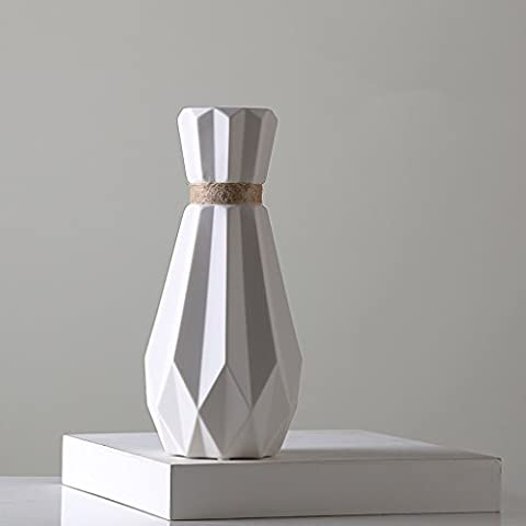 Nordic hemp vase simple creative origami ceramic flower flower living room desktop restaurant small fresh ornaments ornaments ( Color : With flowers )