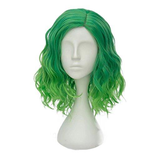 ches(35CM) Kurz Lockig Lolita Party Dame Cosplay Hair Full Wig Perücke (Gemischt Grün) (Grüne Kostüme Perücken)