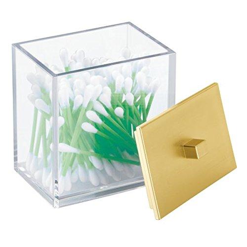 mDesign Barattolo Bathroom Vanity per Batuffoli di Cotone, Tamponi, Dischetti Cosmetici - Trasparente/Oro Spazzolato