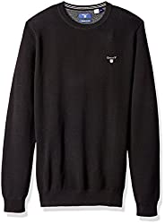 GANT Mens Cotton Pique Crewneck Sweater, Black, L