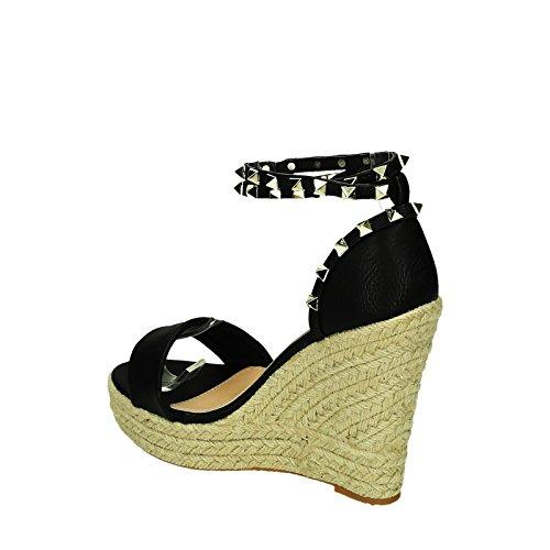 Bequeme Damen Riemchen Keil Sandaletten Pumps Keilabsatz Wedges High Heels Peep Toes L5 Schwarz