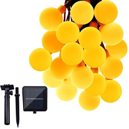 ShiRui Solar Lichterkette 6,8m 50 LEDs Beere. Wasserfest nach IP65 für die Anwendung im Garten, am Christbaum, bei Hochzeitsfeiern, zuhause und vielem mehr (Warmweiß)