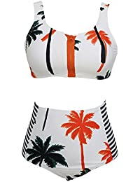 83d9a51dac LANNORN Femmes 2 pièce Sexy Front Zip Palm Coconut Tree Imprimer Bikini,Taille  Haute Push-Up Maillots de…