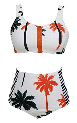 Lannorn Damen 2 Stück mit Reißverschluss Vorder Palm Kokosnuss-Baum-Druck-Bikini, Push-Up hohen Taille Badeanzug. (Bikini-badeanzug Stück Zwei Tag)