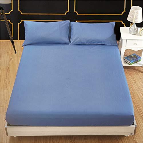 WENXIAOXU Weiche blätter Bett schoner Bezug mit Nässeschutz,Rundumschutz schoner Anti-Allergisch Maschinenwaschbar,Einfarbig Schleifschutz Bettdecke dunkelblau 138 * 190 * 40cm