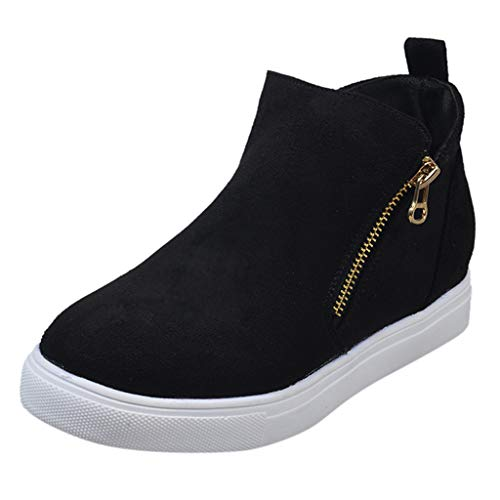 MISSQQSneakers Donna Zeppa Platform Stivaletti con Tacco Alte Pelle Mocassini Eleganti Scarpe da Ginnastica Estive Comode