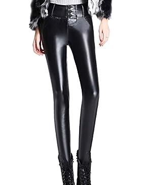 Aivtalk Pantalones Largos de Piel para Mujer Legging Elástico Invierno Terciopelo Caliente
