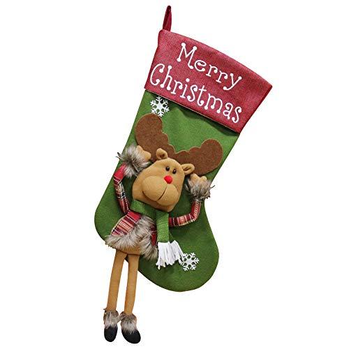 (Quaan Süßigkeiten Tasche Weihnachten Geschenke Baum Ornament Strumpf Weihnachtsmann Claus Schneemann Socke Dekor Blume Socken Baumwolle Niedlich Schlafzimmer Festival)