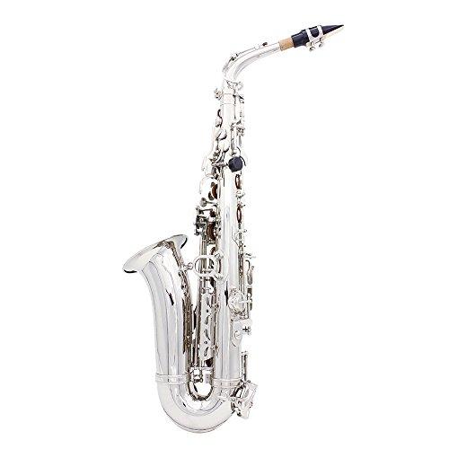 Andoer® Saxophon Sax Eb Be Alto E Wohnung Messing geschnitzte Muster auf Oberfläche Kunststoff-Mundstück Exquisite mit Handschuhen Reinigungstuch Pinsel Straps (Wohnungen Saxophon)