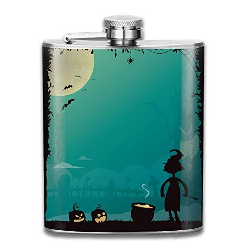 Flask for Liquor Halloween Poster- 7 Oz Leak Proof Stainless Steel Flask for Discrete Shot Drinking of Alcohol, Whiskey, Rum and Vodka   Gift for Men (7 Halloween Poster)