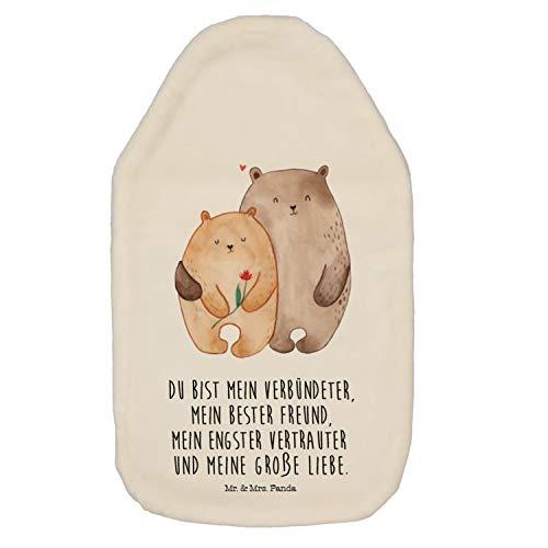 Mr. & Mrs. Panda Wärme, gemütlich, Wärmflasche Bären Liebe mit Spruch - Farbe Weiß