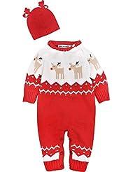 ZOEREA Unisex recién nacido Romper manga larga Navidad perchero de pared de jerséis traje de reno Jersey sudadera