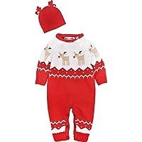 ZOEREA Jumpsuit de Mono de bebé Unisex Jumpsuit de bebé de Manga Larga de Navidad recién Nacido y Bonnet